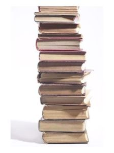 stack of old hardcover books